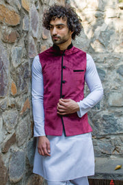 Velvet Red Modi Nehru Jacket