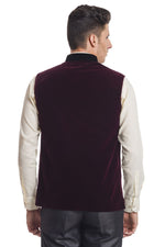 Velvet Red Nehru Jacket