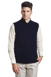 Velvet Blue Nehru Jacket