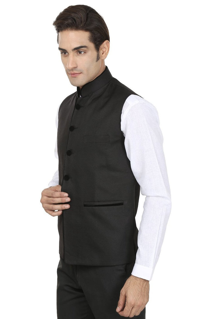 Polyester Cotton Black Nehru Jacket