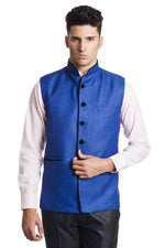 Polyester Cotton Blue Nehru Jacket