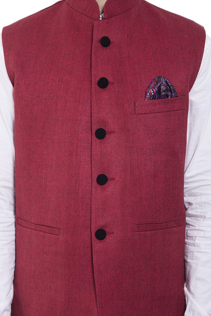 Rayon Red Nehru Jacket