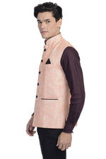 Rayon Cotton Orange Nehru Jacket