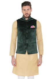 Velvet Dust Free Green Nehru Jacket