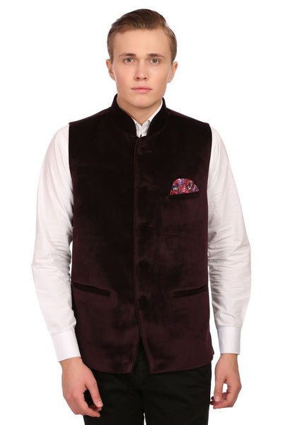 Dust Free Cotton Velvet Red Nehru Jacket