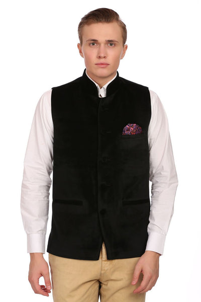 Dust Free Cotton Velvet Black Nehru Jacket