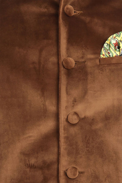 Dust Free Cotton Velvet Gold Nehru Jacket
