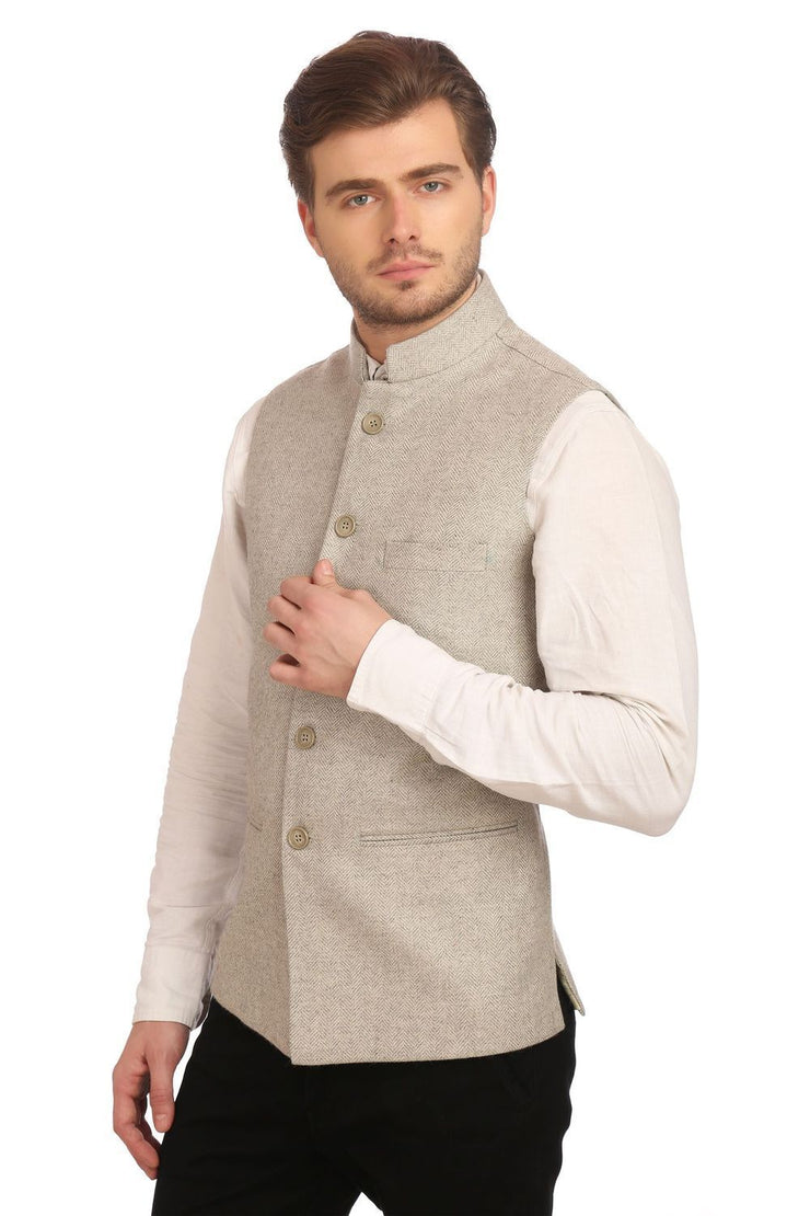 Tweed Silver Nehru Jacket