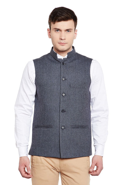 Tweed Wool Blend Blue Nehru Jacket