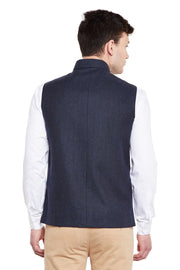 Tweed Blue1 Nehru Jacket