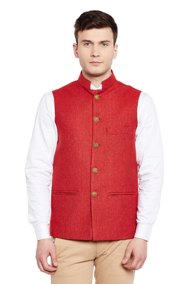 Tweed Red Nehru Jacket