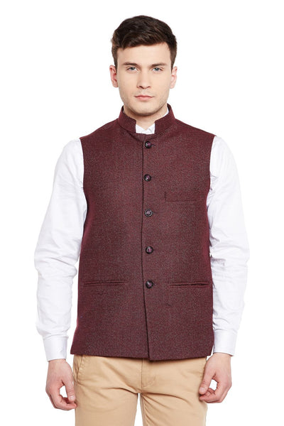 Tweed Maroon Modi Nehru Jacket