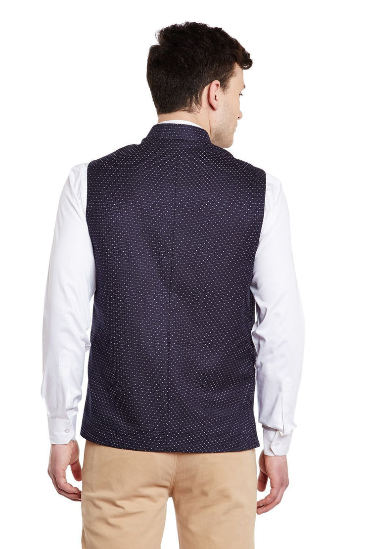 Velvet and Imported Rayon Blue Nehru Jacket