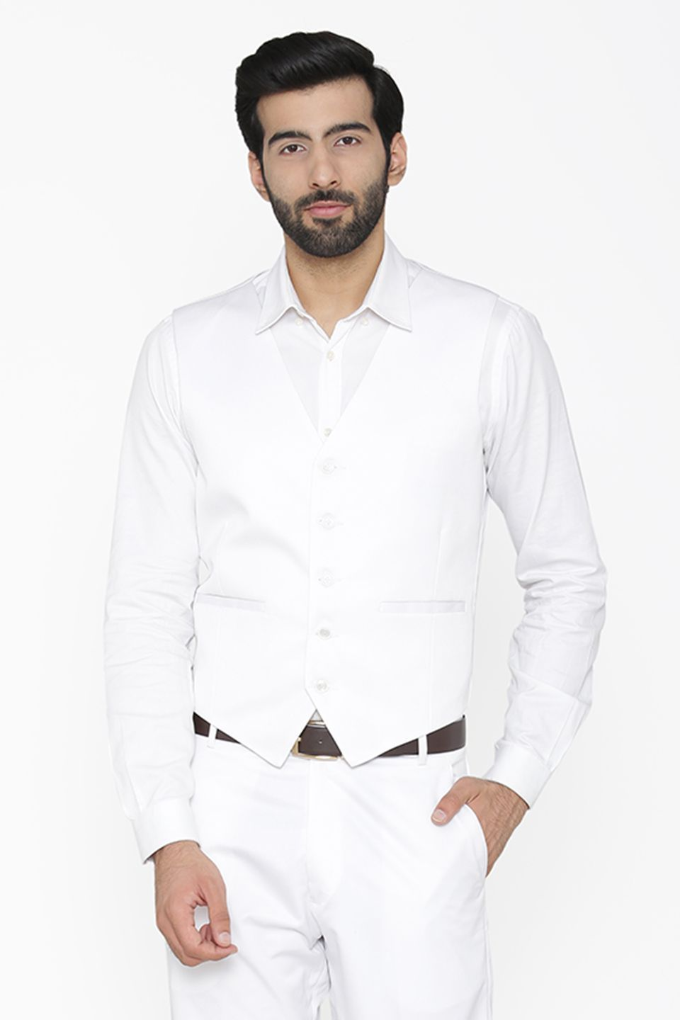 Polyester Cotton White Waist Coat