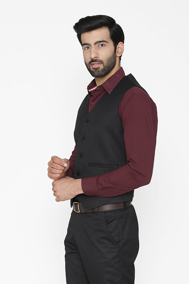 Polyester Cotton Black Waist Coat