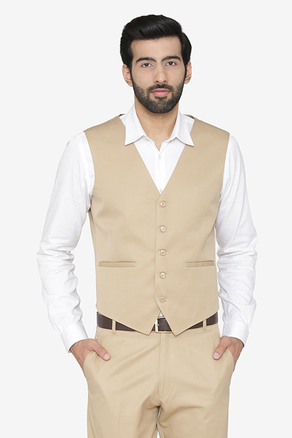 Polyester Cotton Beige Waist Coat