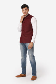 WINTAGE Men's Poly Cotton Festive and Casual Nehru Jacket Vest Waistcoat : Purple