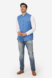 WINTAGE Men's Poly Cotton Festive and Casual Nehru Jacket Vest Waistcoat : Light Blue