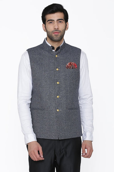 Tweed Wool Silver Modi Nehru Jacket