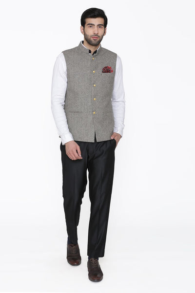 Tweed Wool Grey Modi Nehru Jacket