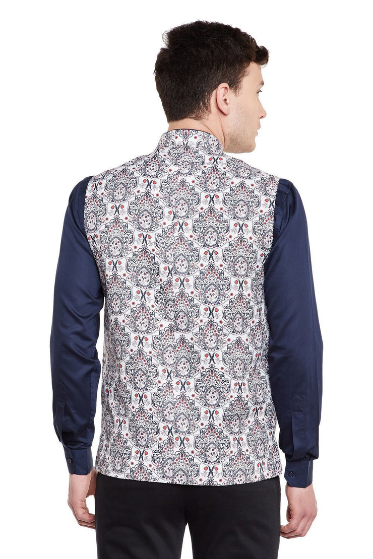 Imported Rayon MulticolouRed Nehru Jacket