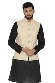 Cotton Khadi Beige Nehru Jacket