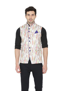 Rayon Fabric MulticolouRed Nehru Jacket