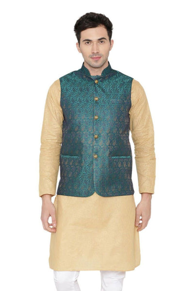 Banarasi Rayon Cotton Green Nehru Jacket
