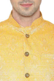 Banarasi Rayon Cotton Yellow Nehru Jacket