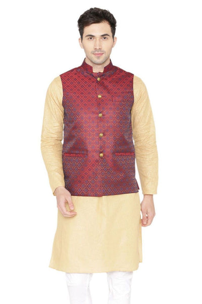 Banarasi Rayon Cotton Red Nehru Jacket