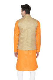 Banarasi Rayon Cotton Gold Nehru Jacket