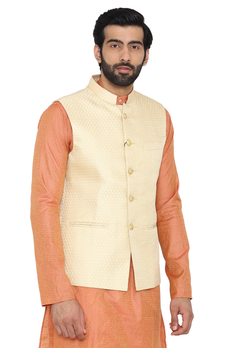Banarasi Rayon Cotton Cream  Ethnic Jacket