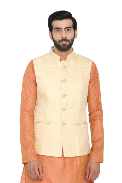 Banarasi Rayon Cotton Cream  Modi Nehru Jacket