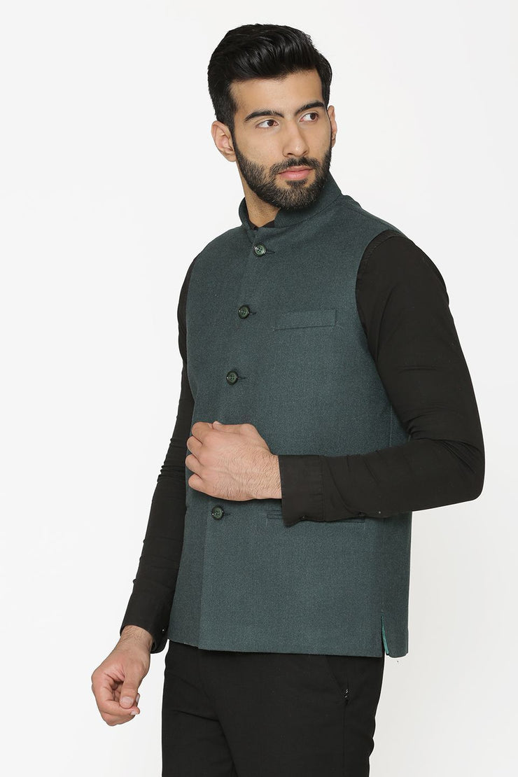 Tweed Wool Green Nehru Jacket