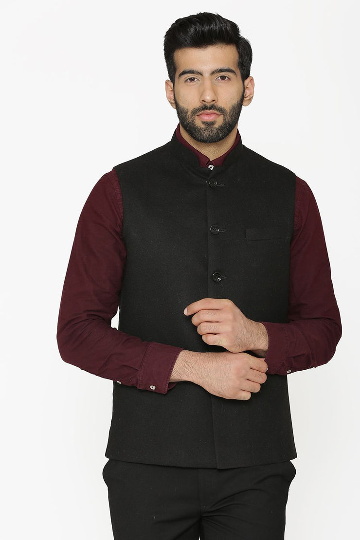 Tweed Wool Black Nehru Jacket