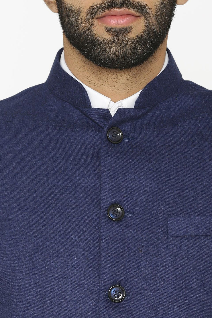Tweed Wool Blue Nehru Jacket