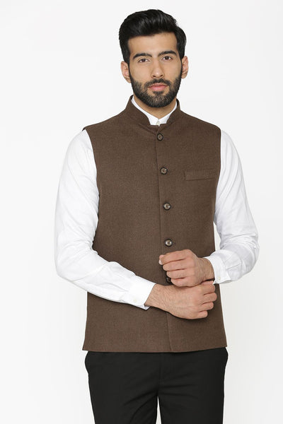 Tweed Wool Brown Nehru Jacket
