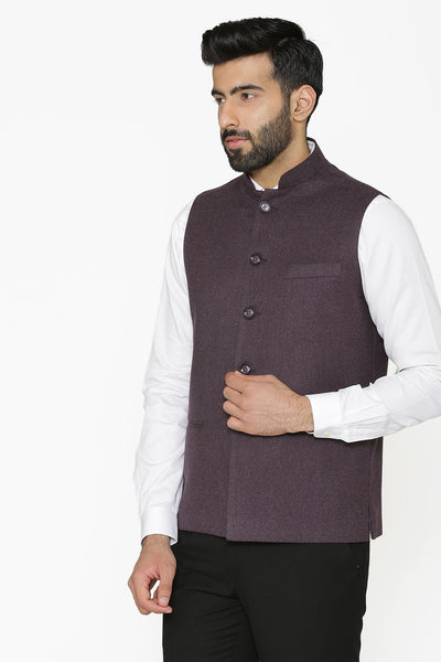 Tweed Wool Purple Nehru Jacket