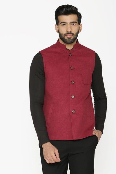 Tweed Wool Red Nehru Jacket