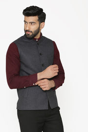 Tweed Wool Grey Nehru Jacket