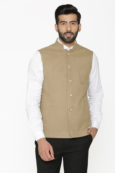 Tweed Wool Beige Nehru Jacket