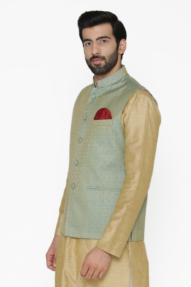 Banarasi Art Silk Cotton Blend Blue Nehru Jacket
