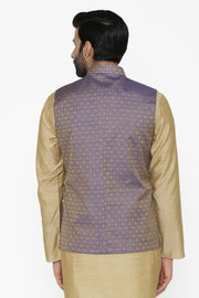 Banarasi Art Silk Cotton Blend Purple Nehru Jacket