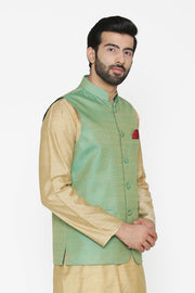 Banarasi Art Silk Cotton Blend Green Nehru Jacket