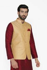 Banarasi Art Silk Cotton Blend Gold Nehru Jacket