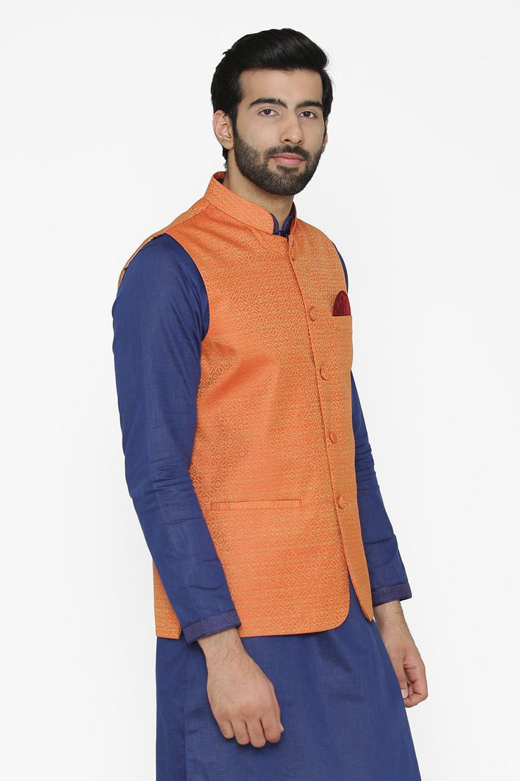 Banarasi Art Silk Cotton Blend Orange Nehru Jacket