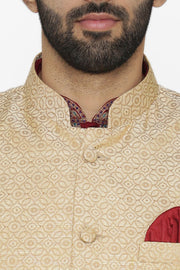 Banarasi Art Silk Cotton Blend Beige Nehru Jacket