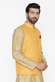 Banarasi Art Silk Cotton Blend Yellow Nehru Jacket