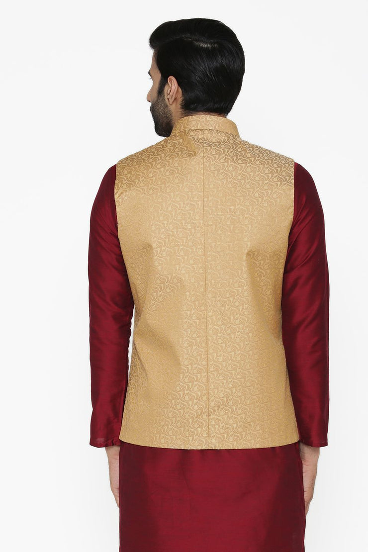 Banarasi Art Silk Cotton Blend Brown Nehru Jacket
