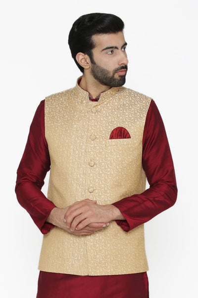 Banarasi Art Silk Cotton Blend White Nehru Jacket